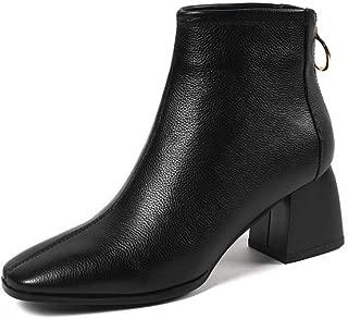 BalaMasa Womens Round-Toe High-Heel Travel Leather Boots ABM13613