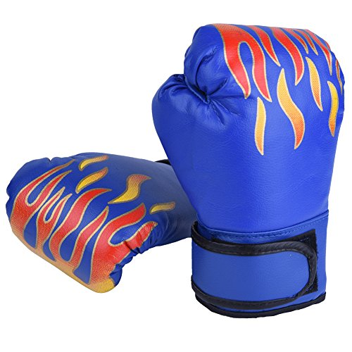 GLOGLOW 3 Farben PU Kinder Boxhandschuhe Kinder Cartoon MMA Sparring Trainingshandschuhe Atmungsaktive Muay Thai Sandsack Handschuhe(Blau)