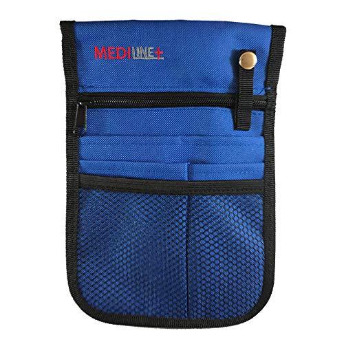 Organizador de bolsillo para enfermera y veterinario con cinturón ajustable, de color azul