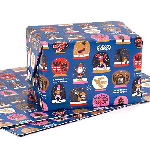 RUSPEPA Foglio Di Carta Da Regalo - Piegato Piatto - 3 Fogli - Motivo Natalizio (22,6 Piedi Quadrati) - 70 cm X 1 m Per Foglio