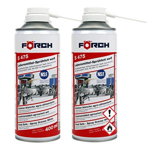 Förch 2X S475 Lebensmittel-Sprühfett 400ml - Druckbeständiger Haftschmierstoff weiß NSF-H1 Zertifiziert (2X 400ml)