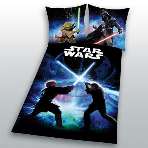 Star Wars Bettwäsche glatt 8 Schwertkampf Rey Finn Tico Yoda 135 x 200 NEU Wow - All-In-One-Outlet-24 -
