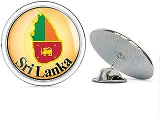 Leyland Designs Sri Lanka Map Flag Glossy Label Metal 0.75