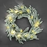 SHATCHI 55cm Pre-Lit Christmas Wreath Lapland Fir for Fireplaces Home Wall Door Stair Snow Flock Artificial Xmas Tree Garden Yard Decorations with 30 Warm White LEDs