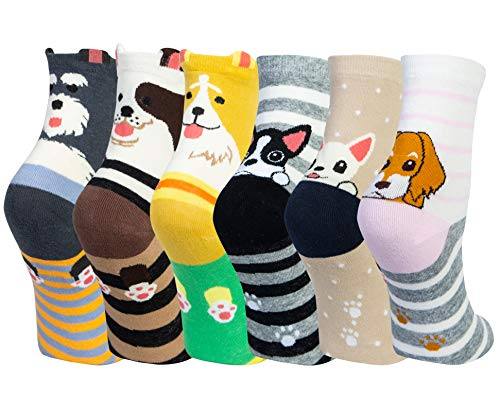 Chalier 6 Paar Socken Damen Lustige Bunte Socken Lange Baumwollsocken, Katzen Und Hundesocken (Grün)