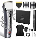 Hair clippers for Men - Professional Hair Trimmers Cordless Beard Trimmer Titanium & Ceramic Blade Rechargeable Body Hair Removal Machine Hair Cutting & Grooming Kit Waterproof Wattne E3, Black