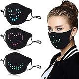 LED Sprachaktivierter Luminous Mund_Schutz, Flashing Glowing Mund_Nasenschutz für Party Bar Masquerade Festival Tanzgeschenk, 6-Farben-Lichtemissionsmodus (1 Stück Maske)
