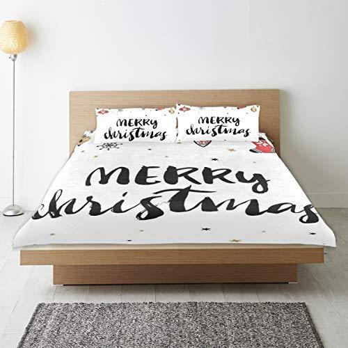 TONKSHA Bedding Juego de Funda de Edredón,Cita de Navidad Feliz Navidad con Letras Modernas de Pincel Frase Creativa de Noel Impresión inspiradora,Microfibra SIN LLENAR,(Cama 140x200 + Almohada)