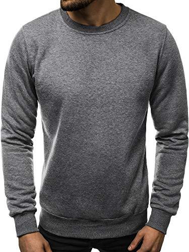 OZONEE Herren Sweatshirt Pullover Langarm Farbvarianten Langarmshirt Pulli ohne Kapuze Baumwolle Baumwollemischung Classic Basic Rundhals-Ausschnitt Sport J. Style 2001-10 M ANTHRAZIT