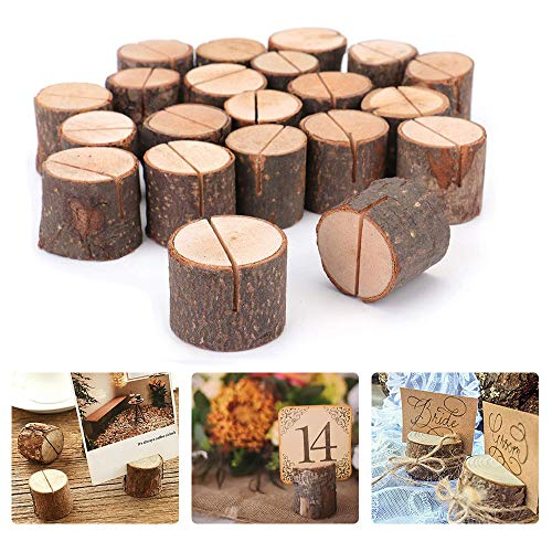 Portatarjetas de madera, portatarjetas de boda rústica Portatarjetas de madera - Portatarjetas con nombre Portatarjetas de madera Portapapeles para decoraciones de bodas y fiesta (20PCS)
