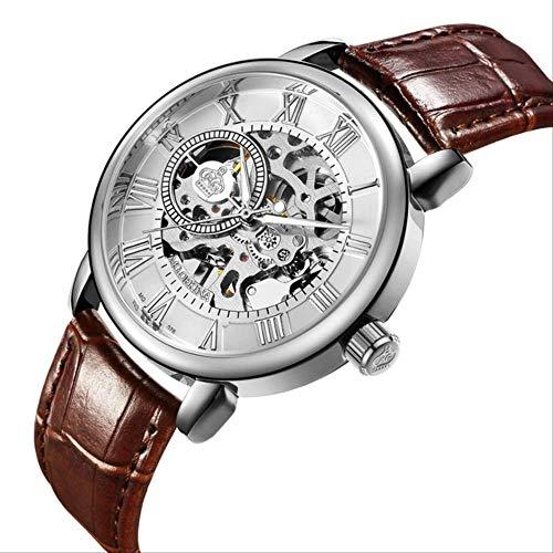 Mann Uhren Automatische Mechanische Uhren Männer Mode Hohlzifferblatt Uhr Casual Silber Edelstahl Whatch Clock Braun weiß