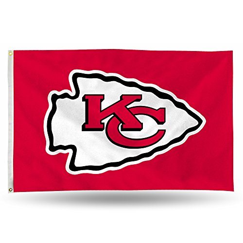 NFL Rico Industries 3-Foot by 5-Foot Single Sided Banner Flag with Grommets, Kansas City Chiefs