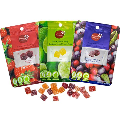 Little Jasmine All Natural Fruit Jelly Candy Variety Pack, Vegan, Gluten Free Snacks (3 Bags 1.8 oz Each- Strawberry, Cranberry & Blueberry, Lime)