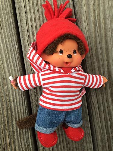 Puppenkleidung handmade für MONCHICHI Gr. 20 cm MONCHHICHI Bekleidung Kapuzenshirt Hoodie Winterset mit JEANS + Schuhe Kleidung Puppenkleidung rot Ringelchen NEU