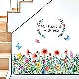 Flores Vinilos Decorativos Hierba Rodapié Adhesivos Plantas Tropicales Rodapié Adhesivos Pared Habitacion Dormitorio Salón(2 hojas de 30×90cm)