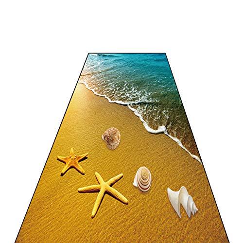Flur Teppich Läufer Langer Flur Fußmatten, 3D Strand Muscheln Muster Teppich rutschfeste Türpolster Drinnen Draußen Baby Lustige Krabbelmatte, 60/80/100/120 cm Breit (Size : 100×200cm)