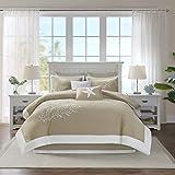 Harbor House 100% Cotton Comforter Set-Coastal Oceanic Sealife Design All Season Down Alternative Bedding with Matching Shams, Bedskirt, King(110'x96'), Coastline, Coral Khaki, 6 Piece