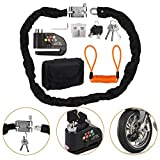 Motorcycle 110dB Alarm Disc Brake Lock + Scooter Chain Lock W/Keys Anti-Theft