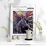 GZCJHP Lienzo impreso en lienzo de 50 x 70 cm, sin marco Heinrich Vogele Exhibition Still Life Poster, Berlín Alemania Scenery Abstracto Art Print, Vogele Nordic Vintage Stye Home Decor