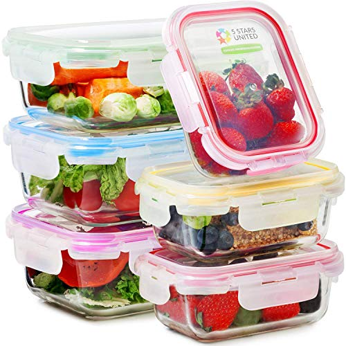 Glass Food Storage Containers with Lids - 6-Pack Set (3x1040ML, 3x370ML) -...
