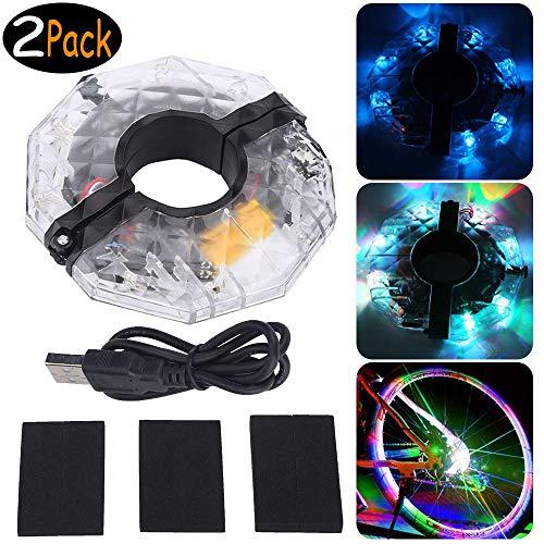 WenX 2Pack USB Wiederaufladbare LED Fahrrad Speichenlicht Fahrrad Rad Licht Speichenreflektor 4 Farbe 3 Modi Radfahren Licht Magic Dekoration Light Fahrrad Zubehör Beleuchtung