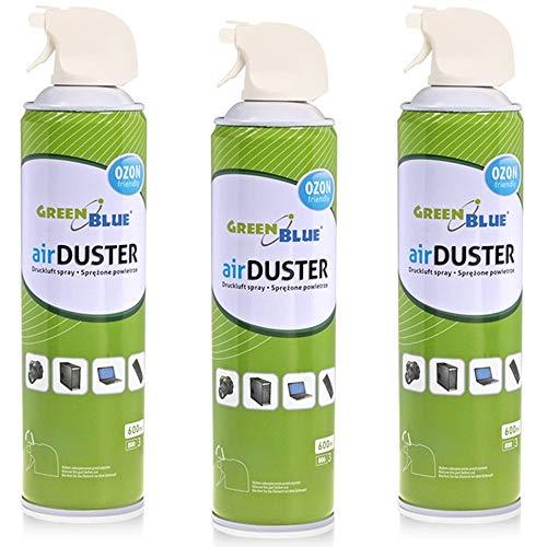 Green Blue GB600 Druckluft Spray 3 x 600ml Air Duster Reinigung Druckluftspray Druckluftreiniger Pressluft Computer Reiniger