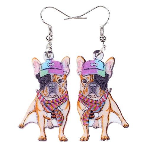 Acrylic Drop Dangle French Bulldog Earrings Funny Design Lovely Gift For Girl Women (Multicolor)