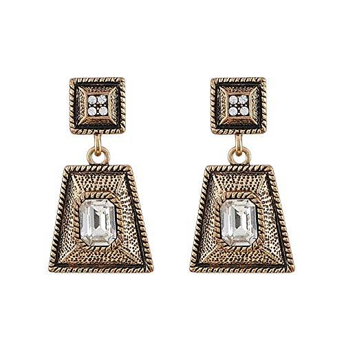 Pendientes llamativos para mujer Pendientes cuadrados de oro antiguo Pendientes de cristal lujosos Pendientes dorados Regalo para bodas