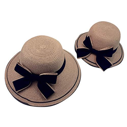 MINXINWY Sombrero Paja de Mujer, Sombrero Adulto Gorro Vacaciones en la Playa Sombra de Moda Bowknot Sombrero Transpirable Sombrero de Paja Padres y niños Sombrero Visera de protección Solar Mujer
