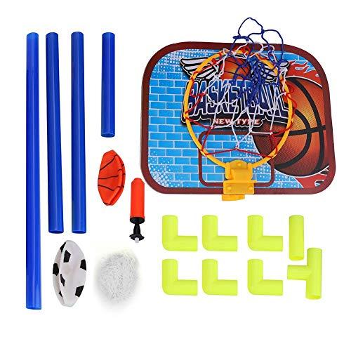 Samfox Tabellone, Pallacanestro Calcio Sistema Tabellone Pallone da Calcio Palline Kit Set di Giocattoli per Bambini per Interni Esterni