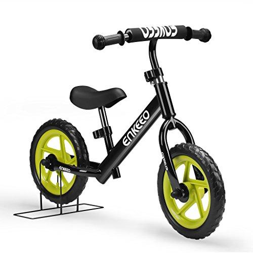 ENKEEO - 12' Bicicleta sin Pedales, Bicicleta Infantil de Equilibrio (Marco de Acero Carbon, Manillar y Asiento Ajustables, Capacidad 50kg, Alta Resistencia) Negro