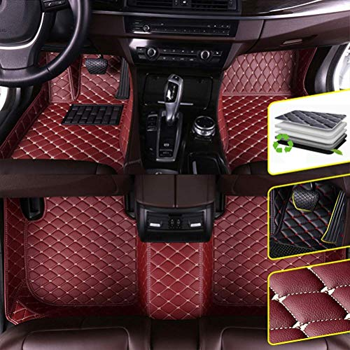 DBL Custom Car Floor Mats for Lexus 2016-2019 LX 8 Seats (no fire Extinguisher) Waterproof Non-Slip Leather Carpets Automotive Interior Accessories 1 Set Wine Red