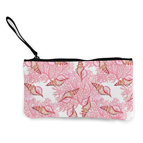 TTmom Carteras de Mujer,Monedero,Women's Vintage Purse, Watercolor Marine Pattern Canvas Makeup Bag with Zipper For Women