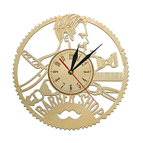 Reloj de Pared Barber Shop Reloj de Pared Hipster Peluquería Peluquería Salón de Belleza Reloj de Madera Reloj de Pared Peluquería Hecha a Mano Decoración rústica de la Pared
