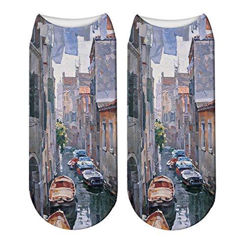 LWHRKSJC Calcetines cortos 3D con pintura de paisaje impresa en 3D, calcetines de tobillo con pintura al óleo de Monet Van Gogh y flores coloridas para mujer