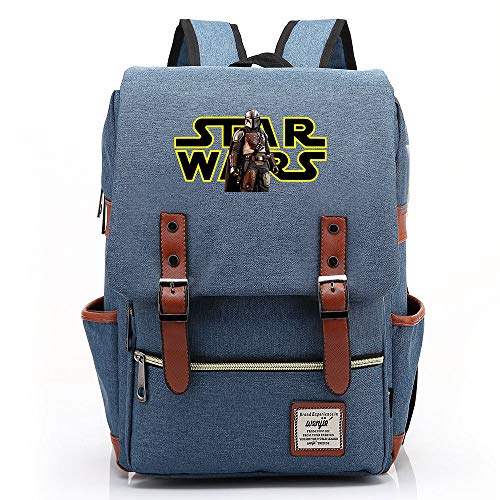Star Mandalorian Print Casual Daypack, Lightweight School Travel Rucksack, Fits 15'' Laptop Tablet 14 inch. Color-04.