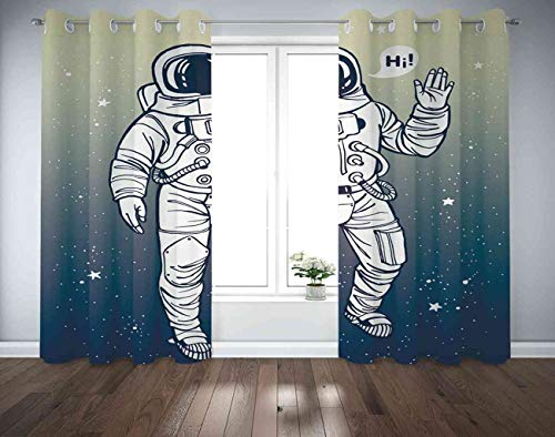 Trikptey Astronaut Space Curtains Astronaut Spacesuit Raises Salute Speech Bubble Blackout Grommet Window Curtains for Bedroom Living Room Set of 2 Panels 2 Tiebacks Included 104'x108'