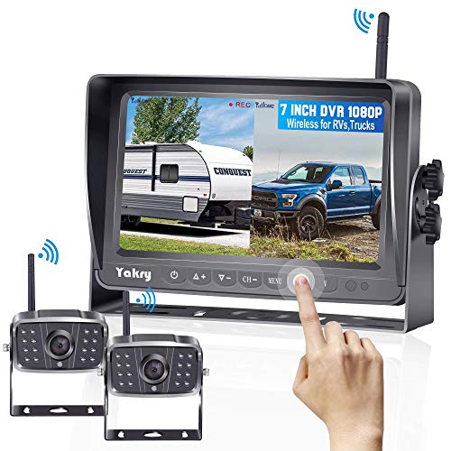 Yakry Y28 FHD 1080P Digital Wireless 2 Backup Camera for RVs,Trailers,Trucks,Motorhomes,5th Wheels 7'' Touch Key Monitor with Recording DVR Highway Monitoring System Super Night Vision