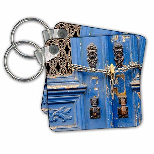 3dRose Portugal, Lissabon Blauwe Deur, Kettingslot, Hand van Fatima Deurkloppers Sleutelhanger, 6 cm, Varies