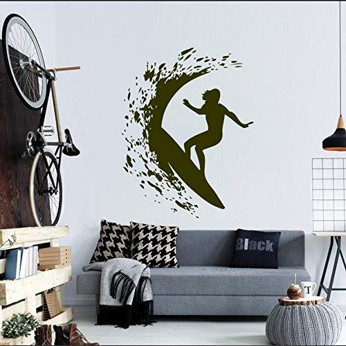 yaonuli Adesivo murale Ragazza Surf nel Mare Wall Sticker Surfer Donna tavola da Surf Surf Cool Sport Estremo Pittura murale 63x61cm