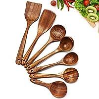 cosyres - set di utensili da cucina giapponesi in legno naturale, antigraffio e resistenti al calore