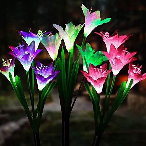 Solarleuchte Garten, JuguHoovi 3 Stück Solarleuchten für Außen, Garten Lampen Lilie Solarlichter mit größerer Blume und Breiterem Solarpanel für die Gartendekoration (Weiß, Pink & Lila)