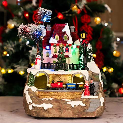 Christmas House Village, Dynamic Rotation Train Tunnel Scene, Led Lights Decorating, Battery Operated LED Light Up with Music Playing for Christmas Atmosphere Ornaments, Kits Bedroom, Living Room