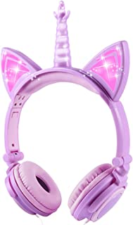Esonstyle Unicorn Kids Headphones, Over Ear with LED Glowing Cat Ears,Safe Wired Kids Headsets 85dB Volume Limited, Food Grade Silicone, 3.5mm Aux Jack.Cat-Inspired Headphones for Girls (Purple)