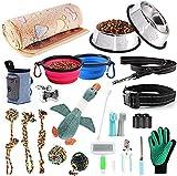 AONESY Welpen Starter Kit 24 Stück Hundebedarf Hund Anfänger Sets Einschließlich Hundespielzeug-Set/Hundedecken/Puppy Training Supplies/Hundepflege-Tool/Hundeleinen/Fütterung & Bewässerung Supplies