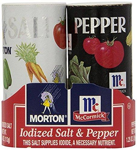 Morton's 4 oz. Salt and McCormick 1.25 oz. Pepper Shakers 2 Bundles (4 Pack)