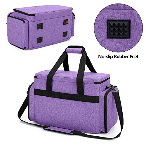 CURMIO Sewing Machine Bag for Most Standard Sewing Machine, Universal Sewing Machine Carrying Case with 2 Removable Zipper Pouches for Sewing Supplies, Purple(Patented Design)