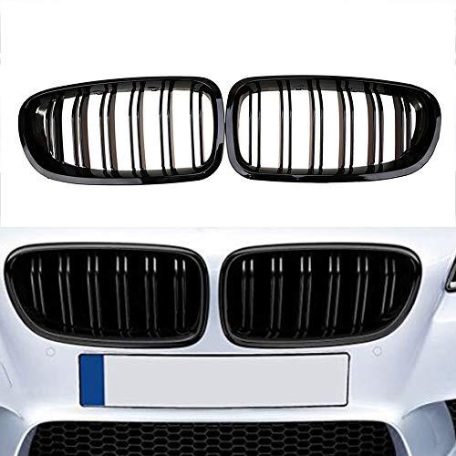 Yuk 2010-2014 pour berline F10 F11 M5 Noir brillant avant Rein Twin Palmes Grille 5 Series 520I 535I 550i sont livrés avec M5 Emblème (1 ensemble)