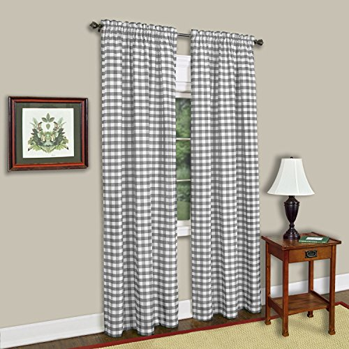 """Sweet Home Collection Kitchen Window Curtain Panel Treatment Decorative Buffalo Check Design, 84"""", Gray"""