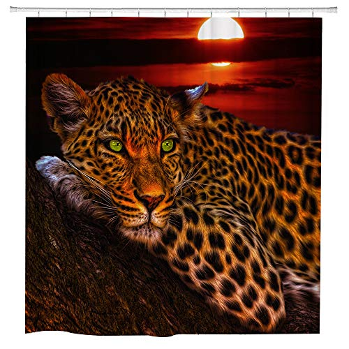 hipaopao Leopard Safari Shower Curtain African Wildlife Animal Cheetah Fabric Shower Curtain Sets Bathroom Decor with Hooks Waterproof Washable 72 x 72 inches Red Brown Black